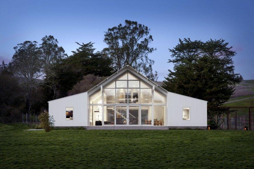 Contemporary White Barn House Design Open Concept Design