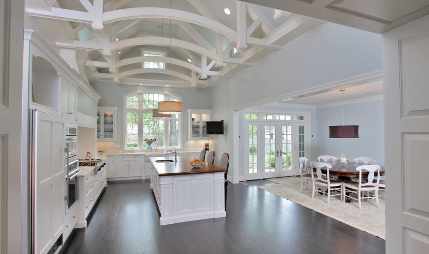 Luxury Custom White Kitchen Design With Dark Wood Floor - Grey wood floor white kitchen