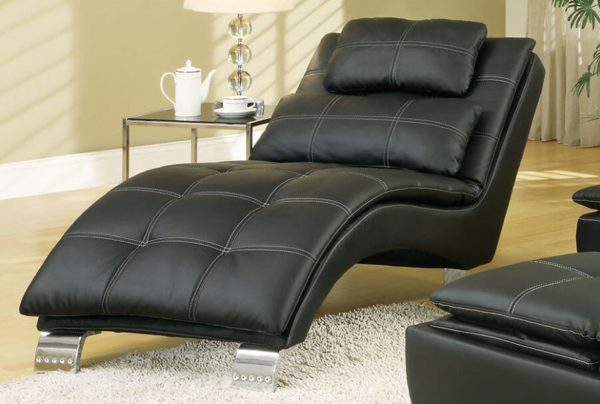 Superb Black Leather Modern Chaise Lounge For The Living Room
