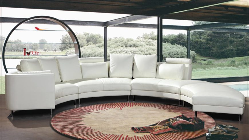 Hokku white modern curved sectional sofa