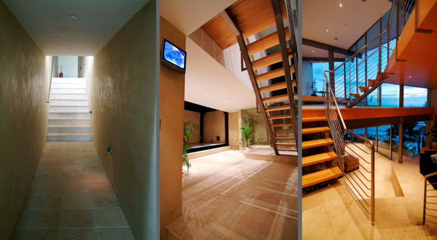Various shots of stairs within the home: first, the path from the garage, next the central steps leading toward bedrooms, and finally the main staircase within the open living room.