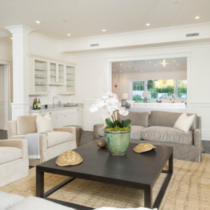 Lovely living room in contemporary Los Angeles home by Meridith Baer Home