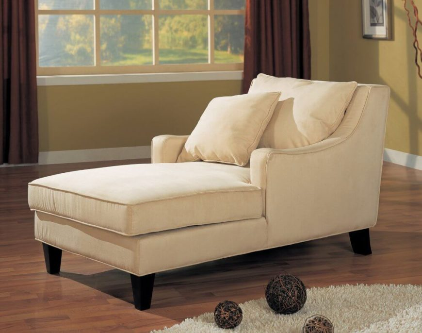 This light beige chaise features a full club-chair style backing with lengthy seat area : club chairs for living room - Cheerinfomania.Com