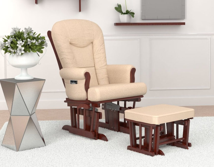 Similar to the prior chair  this glider features a rich wood frame and beige upholstery 20 Top Stylish Comfortable Living Room Chairs