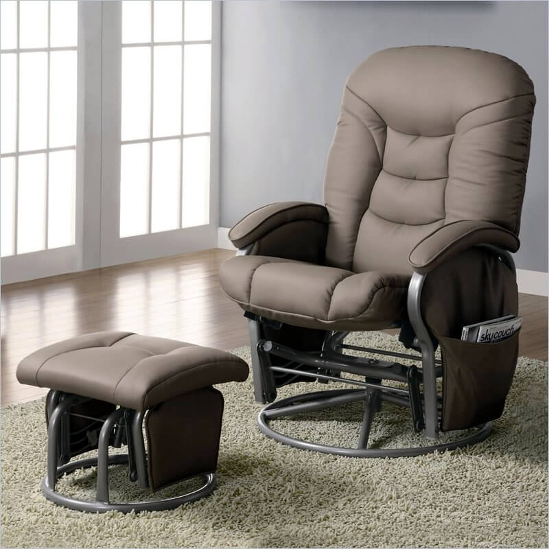 Hereu0027s a second glider chair with matching functional ottoman with a sleek modern aesthetic. : upholstered reclining chairs - islam-shia.org