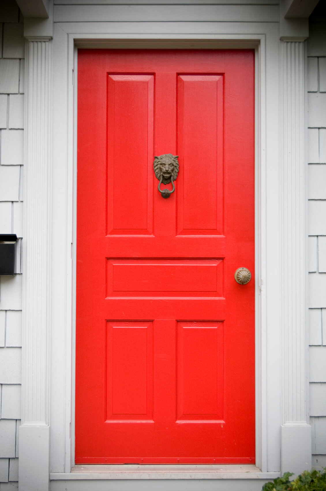 Off-white molding and framing support this bright red door, which has five rectangular panels and features a bronze doorknocker and a bronze doorknob. A black mailbox fixed to the wall is placed at the left side of the door.
