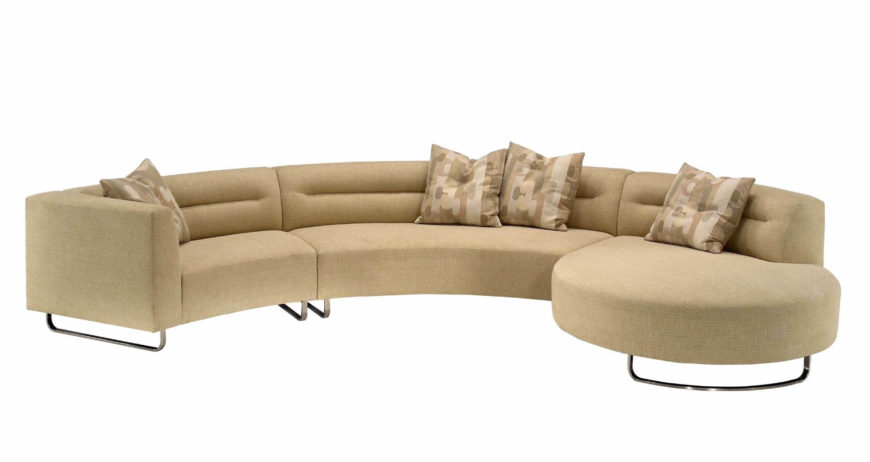 Here We Have A Sleek, Contemporary Curved Sectional In Cream Colored Fabric  Upholstery. Asymmetrical .