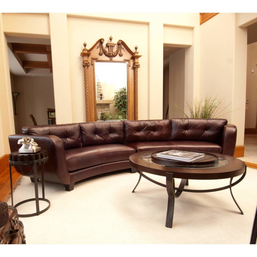 This lengthy two-piece sectional features a hardwood frame wrapped in top grain leather. : round sectional sofa leather - Sectionals, Sofas & Couches