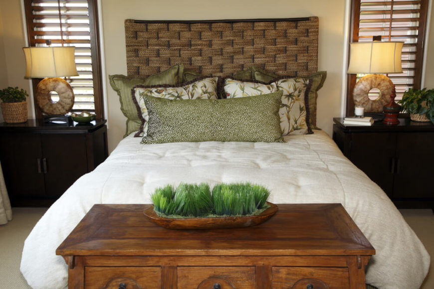 Master bedroom with custom headboard