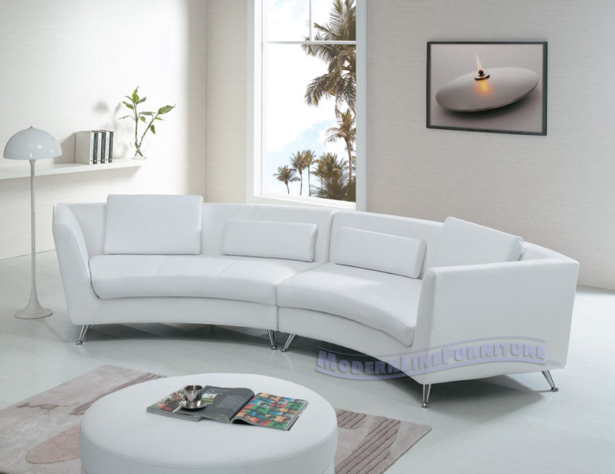 Sleek modern design informs the look of this white leather two-piece. Chromed . : small curved sectional sofa - Sectionals, Sofas & Couches