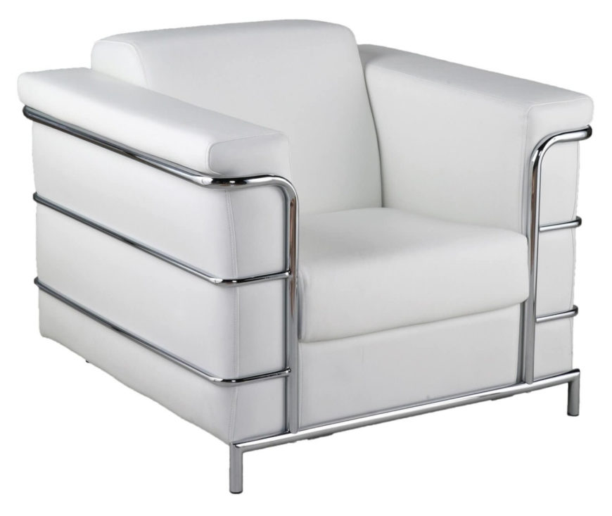This club chair is a modern styled creation with pristine white leather wrapping a boxy  sc 1 st  Home Stratosphere & 20 Top Stylish and Comfortable Living Room Chairs
