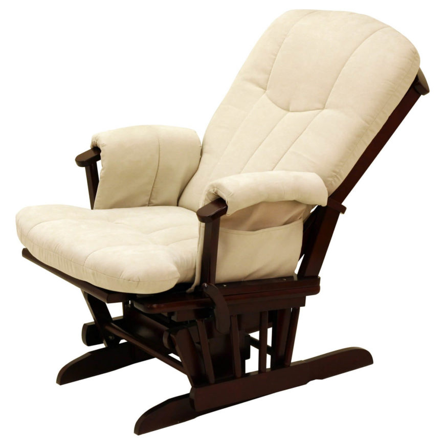 Ordinaire This Highly Reclined Glider Features Plush Beige Cushioning Over A Cherry  Wood Frame. The Sloped