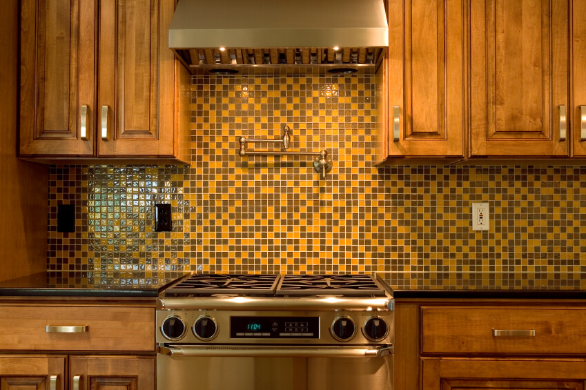 A retro backsplash in mustard and chocolate brown glass 1 inch mosaic tiles. & 75 Kitchen Backsplash Ideas for 2018 (Tile Glass Metal etc.)