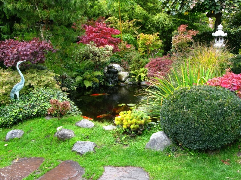 Another View Of The Japanese Garden With A Stone Lantern And Heron From Pathway