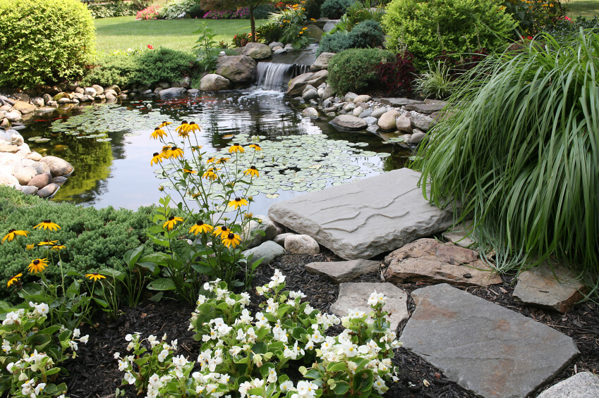 A more natural-looking garden pond with a flagstone path leading up to the water's edge. A wide waterfall cascades into the main pool.