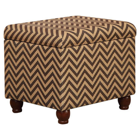 This storage ottoman features a striking zigzag pattern and rounded dark wood legs.