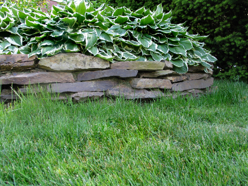 Thin slate stones stacked create a natural-looking, simple barrier between the landscaping and the grass.