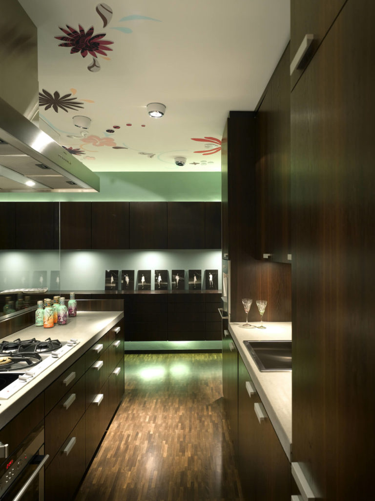 Stainless steel appliances, discreet embedded ceiling lighting, and the glass divider add a touch of the ultra-modern to this space.