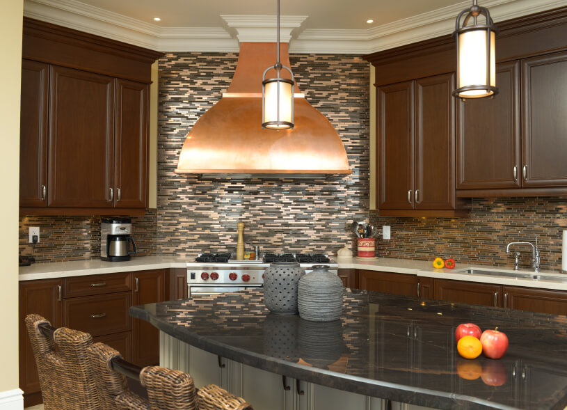 Wonderful Kitchen Stove Backsplash Ideas Part - 3: Another Look At The Above Kitchen, Paying Particular Attention To The  Copper Vent Hood Above
