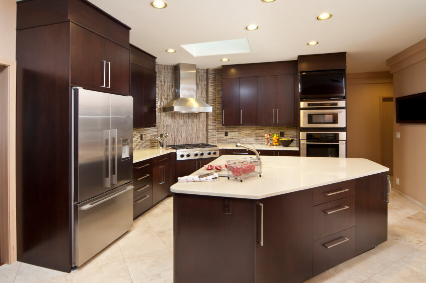 An Angled Kitchen With A Vertical And Horizontal Glass Tile Backsplash And  An Angular Island With Part 60