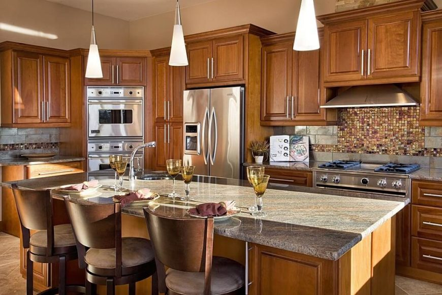 Red Kitchen Backsplash Ideas Part - 22: This Luxurious Kitchen Has Two Different Materials In The Backsplash. A  Metallic Stone Subway-