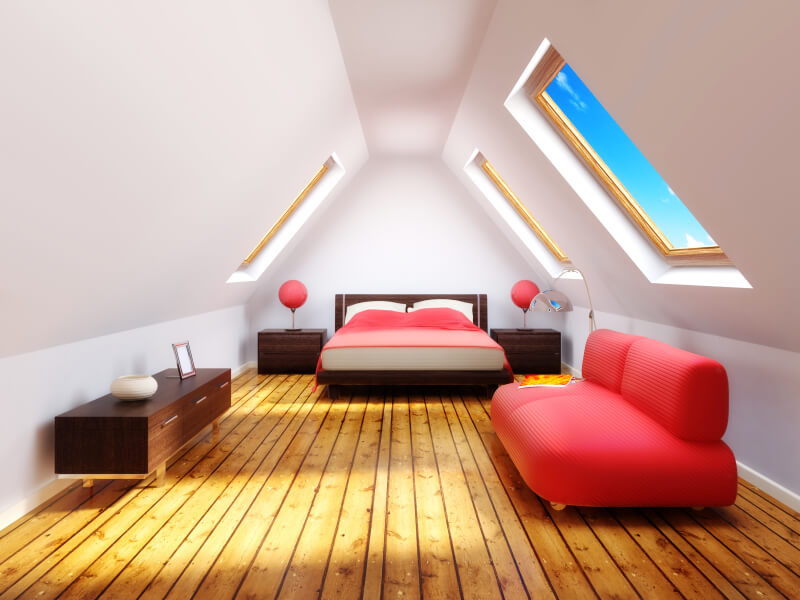 This computer-generated image features distressed hardwood floors &le sunlight and a spacious & 60 Attic Bedroom Ideas (Many Designs with Skylights)