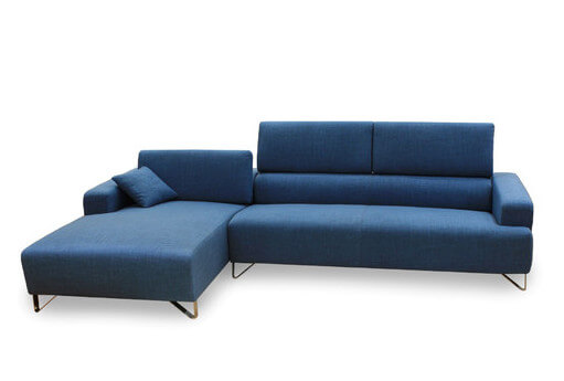 A luxurious fabric bi-sectional in a bright royal blue with chromed stainless steel legs  sc 1 st  Home Stratosphere : royal blue sectional couches - Sectionals, Sofas & Couches