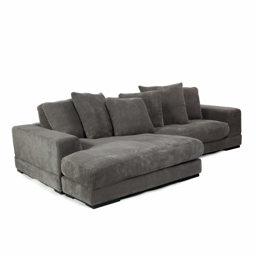 A sectional in gray polyester corduroy that features a chaise and loveseat set. The square armrests and low profile help this piece belong to many styles of homes.