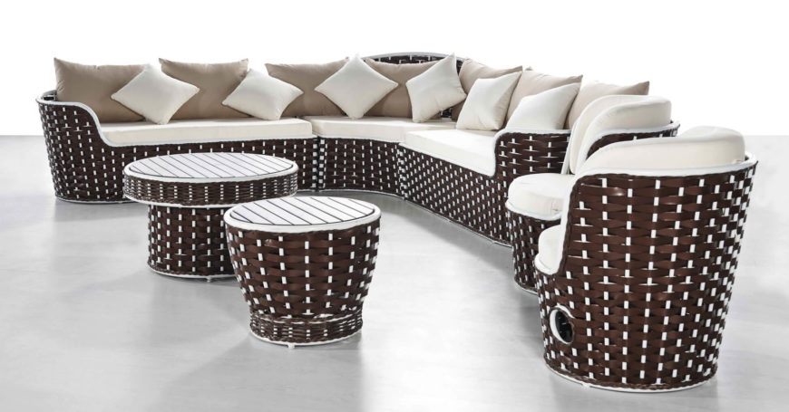 "This sectional is called ""fawn"" for the way the wicker base is threaded around the white supports, giving the base a dappled look. This piece is perfect for an outdoor entertainment area that needs to seat a crowd. It features a UV protected design that means that it will never fade."