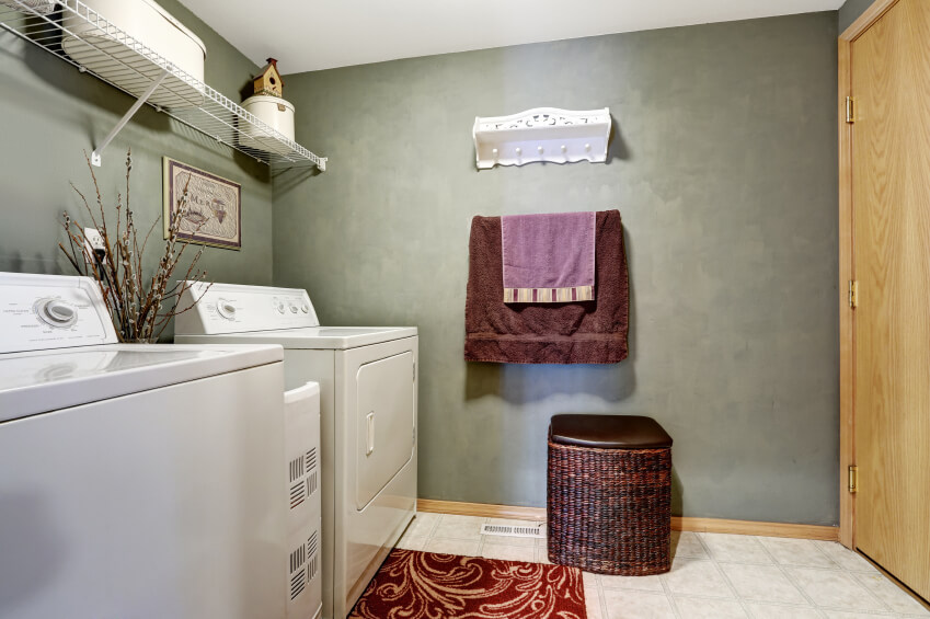 A contemporary laundry room with textured dusky green walls and burgundy accents. Between the appliances is a small vase of catkins.