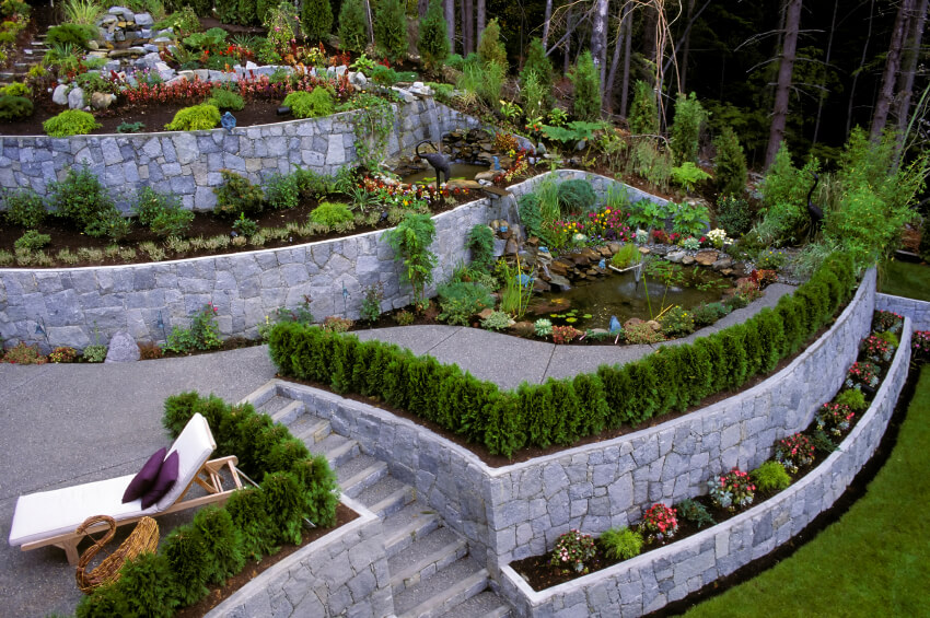 backyard retaining wall ideas and terraced gardens, tiered backyard landscaping ideas