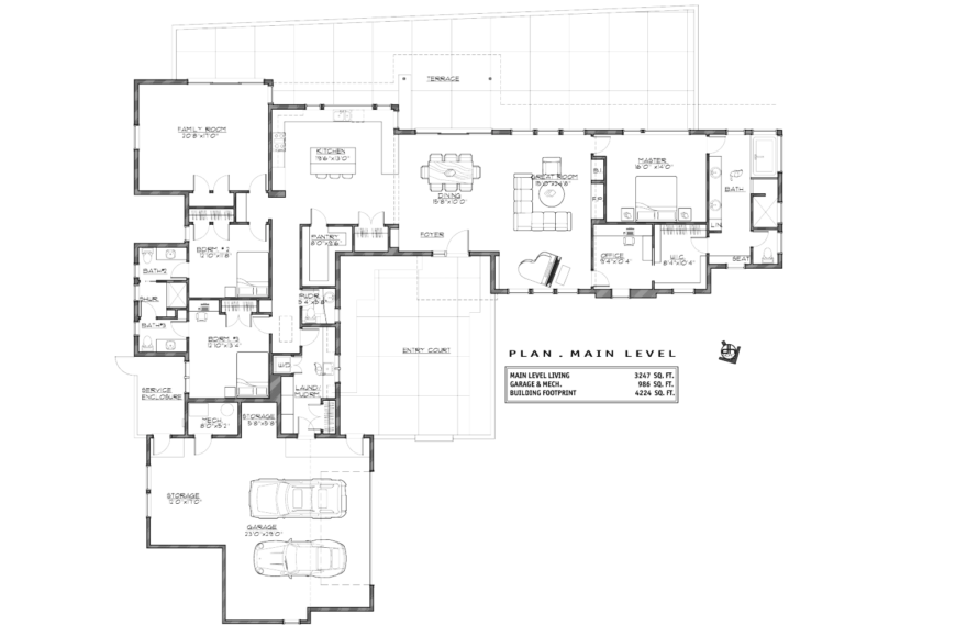 The floor plan of the home, showing the location of additional rooms, including the master suite, office, family room, and additional bedrooms.