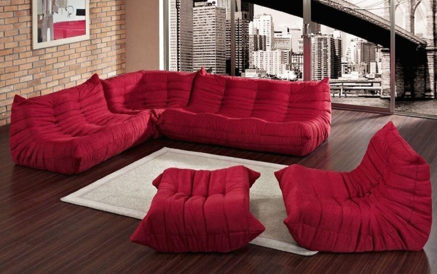 Red Modern Modular Sofa.