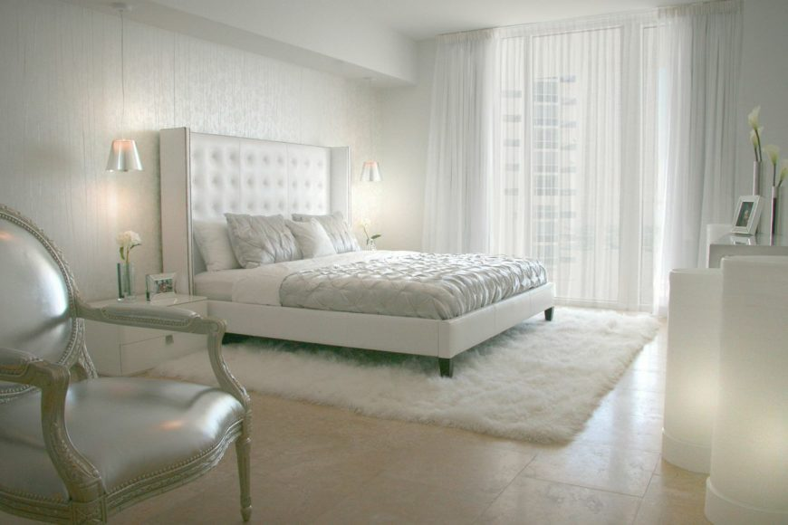 "White ""Russian Glam"" master bedroom."