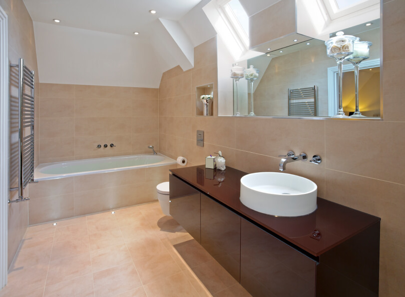 Skylights Find Their Home Above A Large Mirror Overlooking Striking Modern Vanity With Unusual Basin