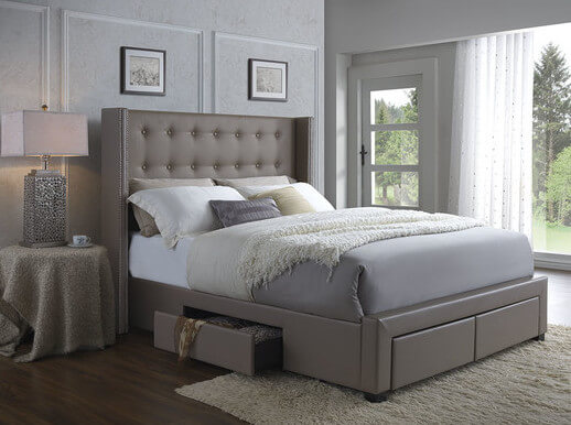 25 incredible queen sized beds with storage drawers underneath - Leather beds with storage drawers ...