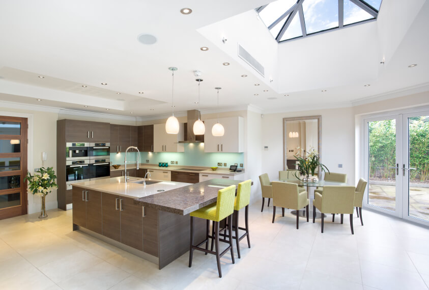 This Gorgeous Kitchen Has Hues Of Cool Aqua And Mint Greens. The Large  Skylight Protrudes