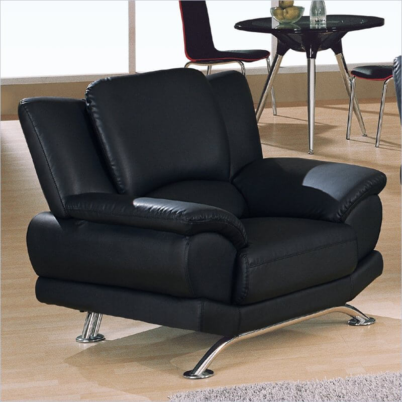 This sharply modern design, echoing a previous chair, features all-black leather upholstery and horizontal chromed legs supporting an extra wide frame.