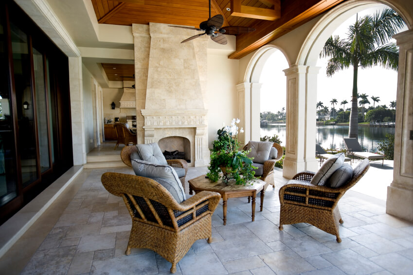 Ordinaire A Beautiful Stone Patio With A Fireplace.