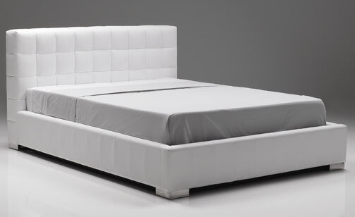 A leatherette storage bed with a hydraulic mattress lift storage system. The frame is metal.