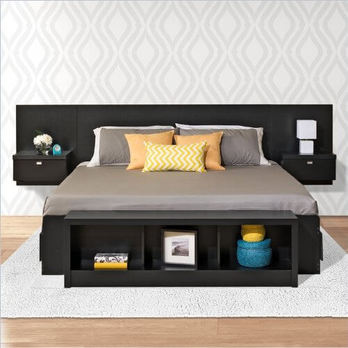 A Storage Bed With Three Drawers On Each Side Of The Bed The Floating Headboard