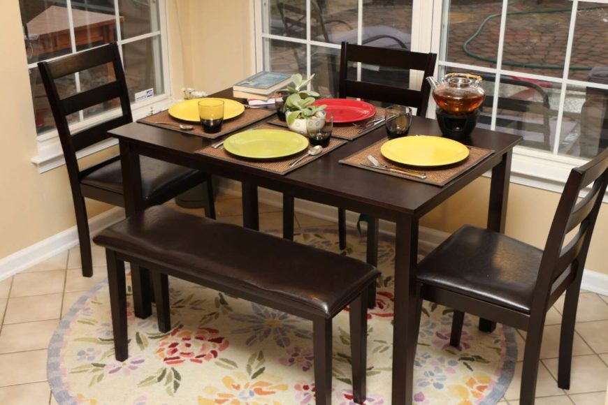 This Sleek And Simple Dining Table Features A Dark But Warm Wood Tone And  Sharp Edged Design With Minimal Fuss. This Comes As A Set With The Pictured  Chairs ...