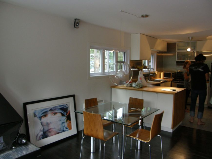 For contrast, here is an image of the kitchen before renovation. It's cramped and dim in comparison.