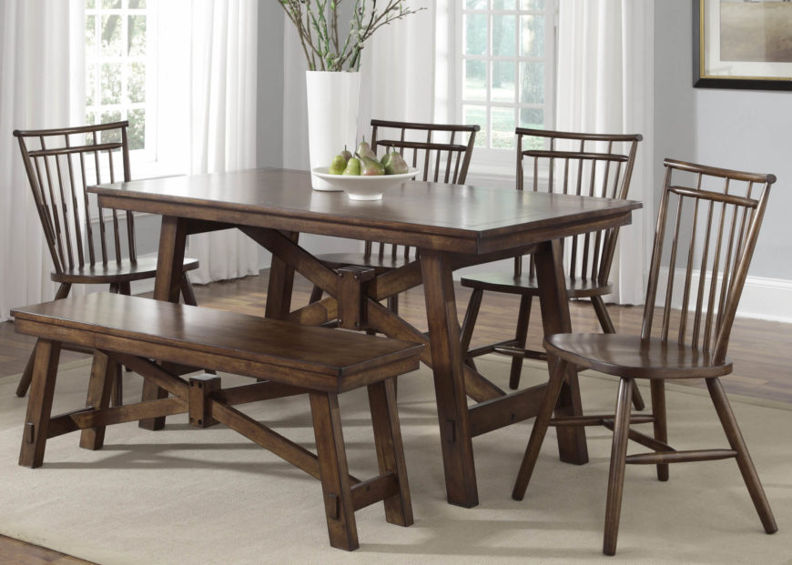 This rustic look dining table features loose A frame structure beneath its  two. 20 Wood Rectangle Dining Tables that Seats 6 Under  500