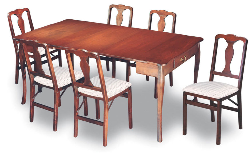 This Traditionally Styled, Natural Stained Wood Dining Table Features The  Aesthetic And Utilitarian Addition Of A Pair Of Drawers Beneath The Surface.