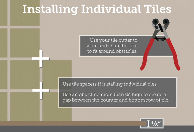 Installing individual tiles by using spacers.