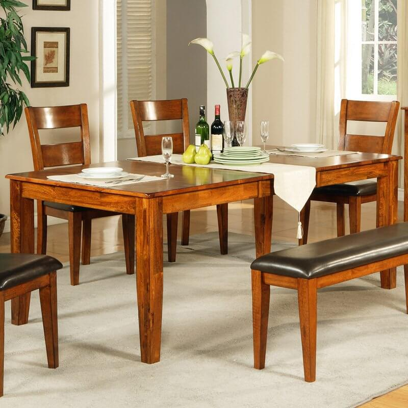 This Wood Dining Room Table Features A Brightly Welcoming Natural Wood  Tone, Rich With Textural