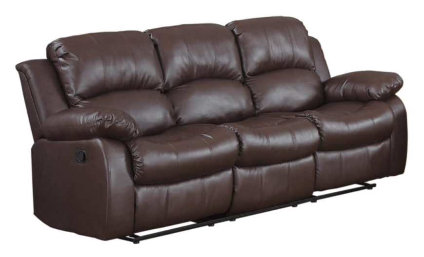 This ultra-cushy sofa features full double reclining action for extreme relaxation. Chocolate leather upholstery maintains a rich appearance.