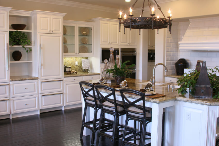 white kitchen wood floors | wb designs