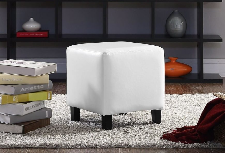 Small leather white footstool.